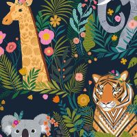 Dashwood Studio - Our Planet 100% Cotton Fabric - Animal Kingdom Navy