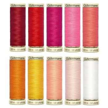 Gutermann 100m Sew All Threads Set of 10 - Sunset Shades