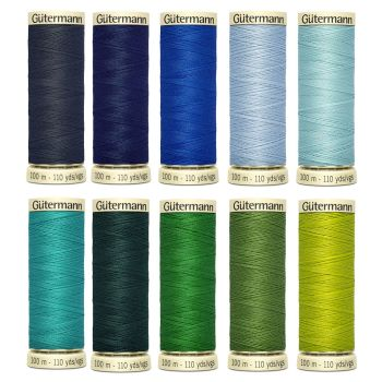 Gutermann 100m Sew All Threads Set of 10 - Ocean Shades