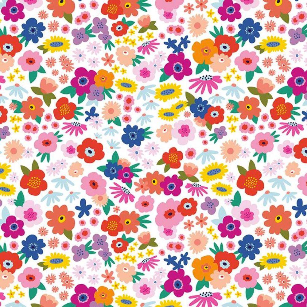 Riley Blake - Grl Pwr 100% Cotton Fabric -  Babe White Floral