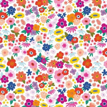Riley Blake - Grl Pwr 100% Cotton Fabric -  Babe White Floral