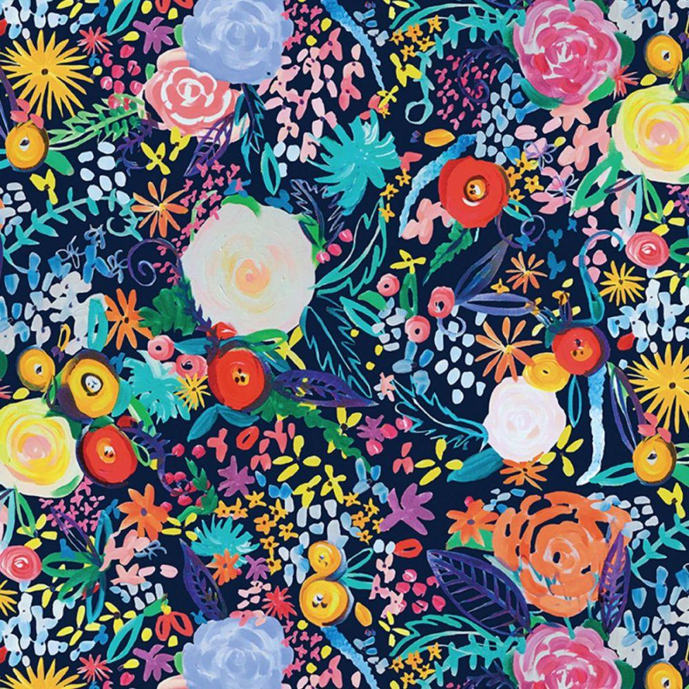 Clothworks - Painted Petals 100% Cotton Fabric - Floral Fete Navy