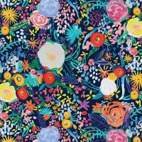 Clothworks - Painted Petals 100% Cotton Fabric - Floral Fete Navy