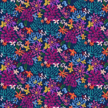 Clothworks - Painted Petals 100% Cotton Fabric - Fall Floral Navy