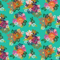 Clothworks - Painted Petals 100% Cotton Fabric - Acrylic Floral Turquoise