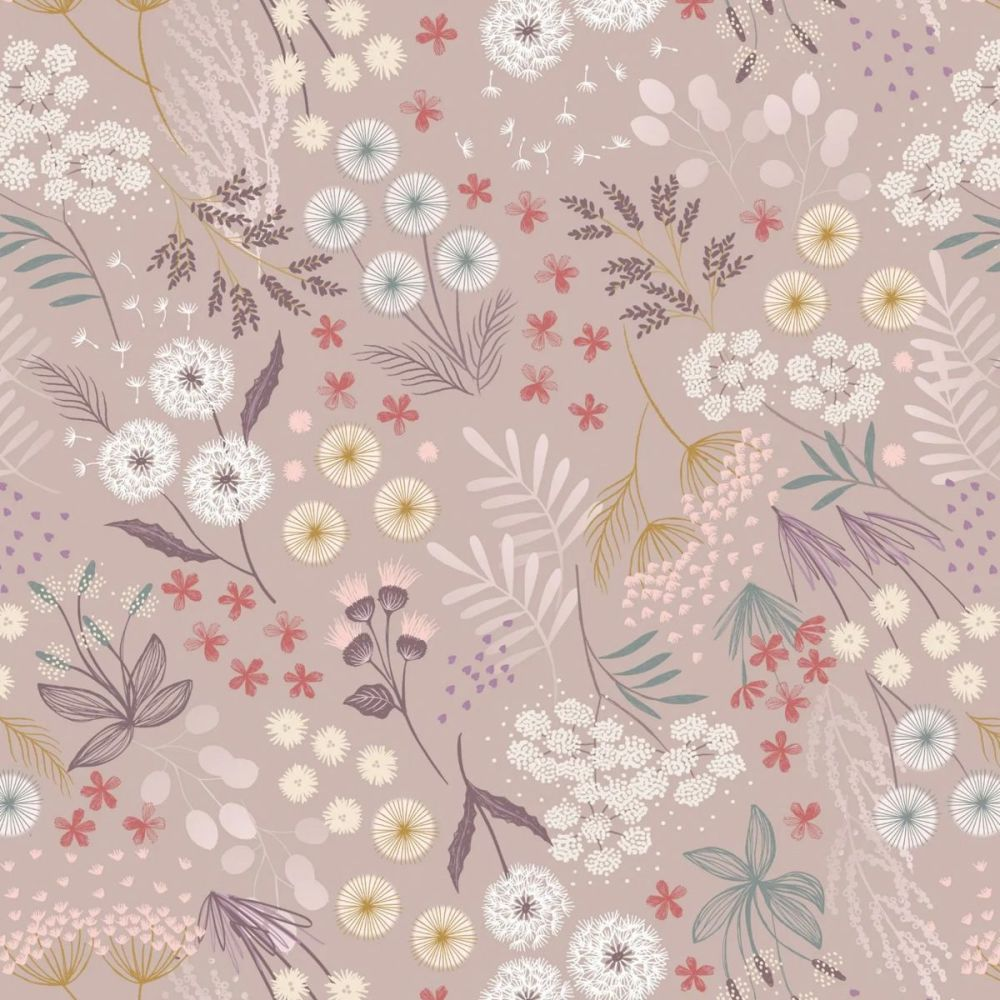 Lewis & Irene - Fairy Clocks 100% Cotton Fabric - Warm Linen Fairy Plants