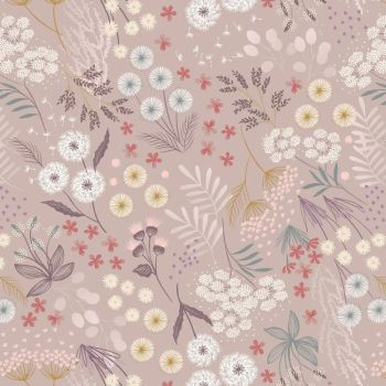 Lewis & Irene - Fairy Clocks 100% Cotton Fabric - Warm Linen Fairy Plants