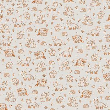 Riley Blake - Camp Woodland 100% Cotton Fabric - Off White Woodland Life
