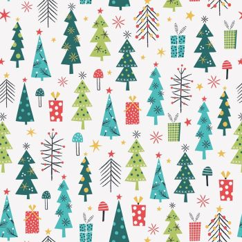Dashwood Studios - Forest Friends 100% Cotton Fabric - Christmas Trees Metallic