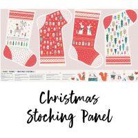 Dashwood Studios - Forest Friends 100% Cotton Fabric - Christmas Stocking Panel (Metallic)