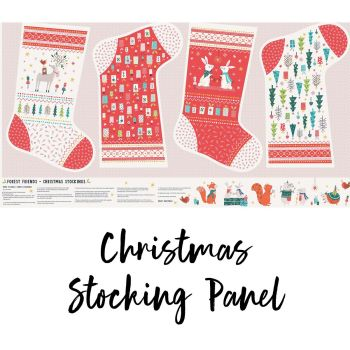 Dashwood Studios - Forest Friends 100% Cotton Fabric - Christmas Stocking Panel (Metallic)