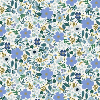 Rifle Paper Co - Garden Party 100% Cotton Fabric - Wild Rose Blue Metallic
