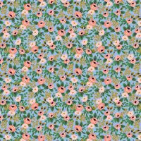 Rifle Paper Co - Garden Party 100% Cotton Fabric - Rosa Chambray Metallic