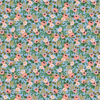 Rifle Paper Co - Garden Party 100% Cotton Fabric - Rosa Chambray Metallic