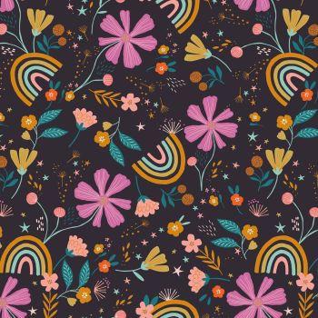 Dashwood Studios - Good Vibes 100% Cotton Fabric - Rainbow Flowers