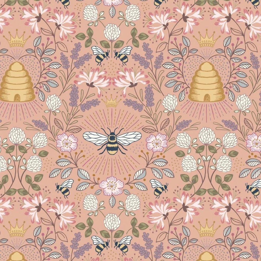 Lewis & Irene - Queen Bee 100% Cotton Fabric - Peach Bee Hive