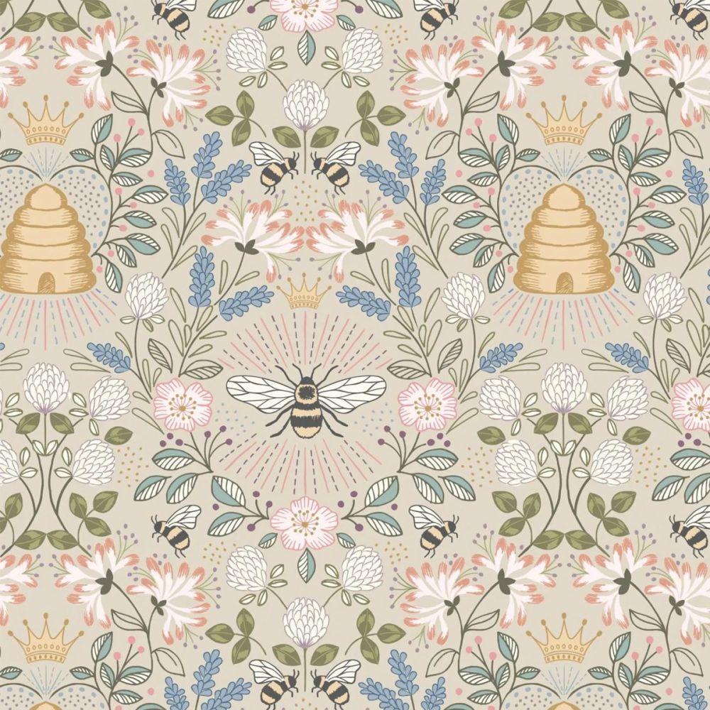 Lewis & Irene - Queen Bee 100% Cotton Fabric - Dark Cream Bee Hive