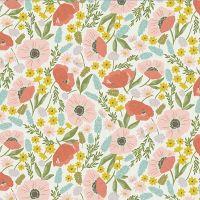 Riley Blake - Tea With Bea 100% Cotton Fabric - White Floral