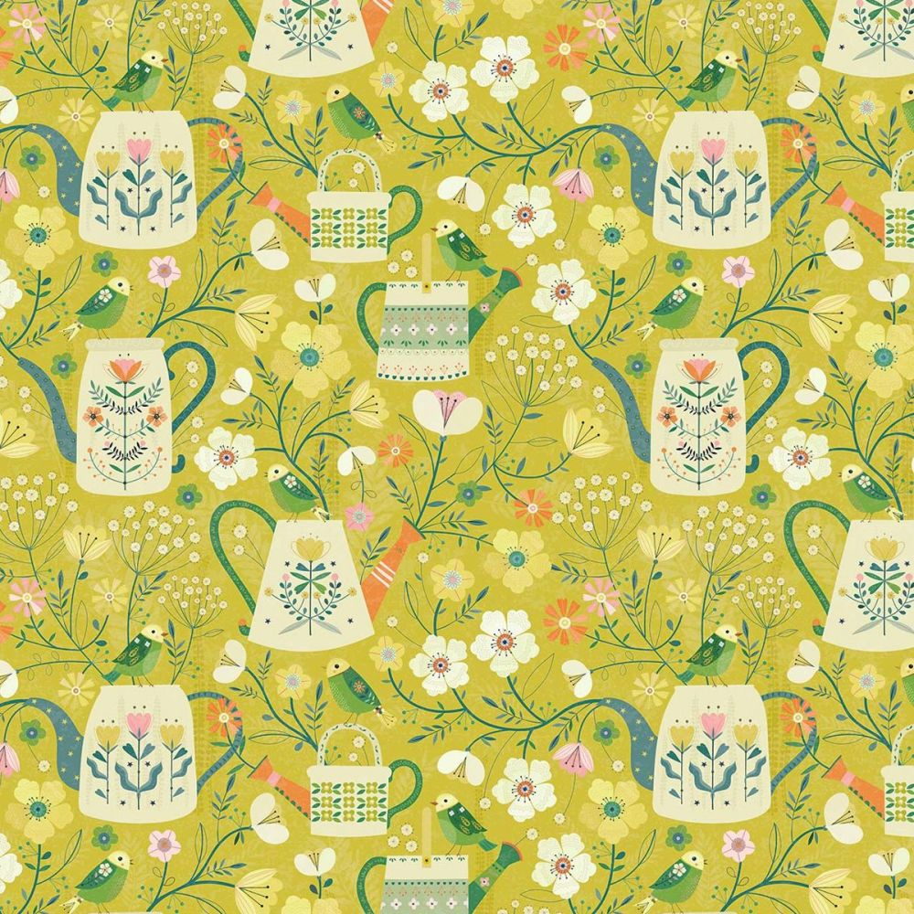 Dashwood Studios - Hedgerow 100% Cotton Fabric - Floral Watering Cans