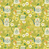 Dashwood Studio - Hedgerow 100% Cotton Fabric - Floral Watering Cans