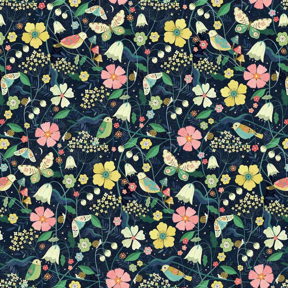 Dashwood Studio - Hedgerow 100% Cotton Fabric - Navy Floral