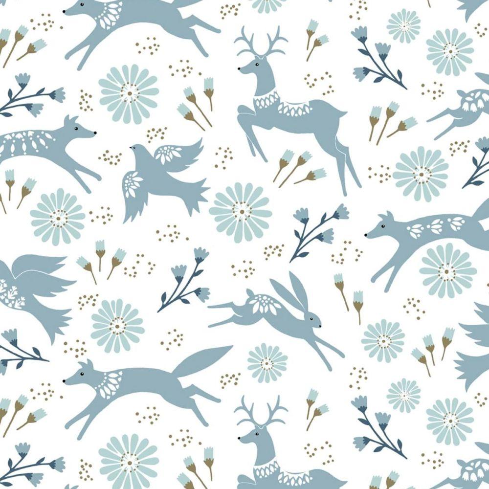 Dashwood Studio - Starlit Hollow 100% Cotton Fabric - White Metallic Floral