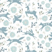 Dashwood Studio - Starlit Hollow 100% Cotton Fabric - White Metallic Floral Animals