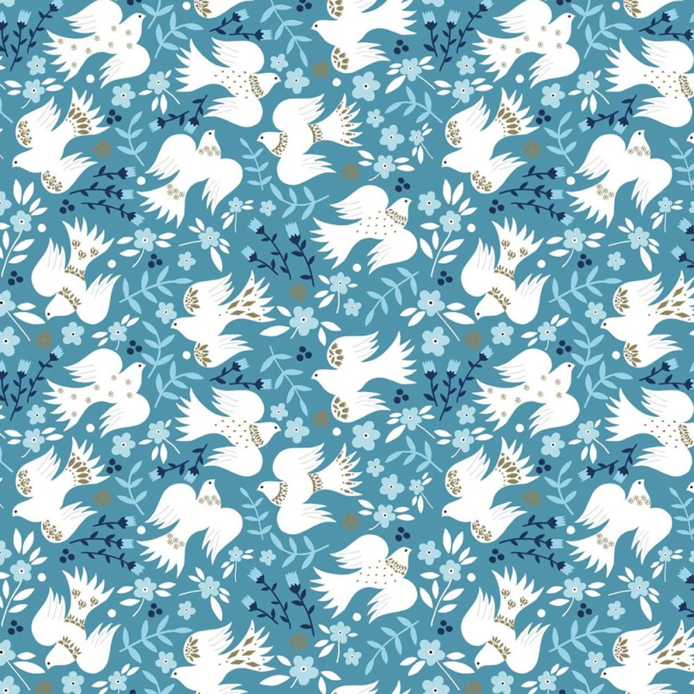 Dashwood Studio - Starlit Hollow 100% Cotton Fabric - Blue Metallic Doves
