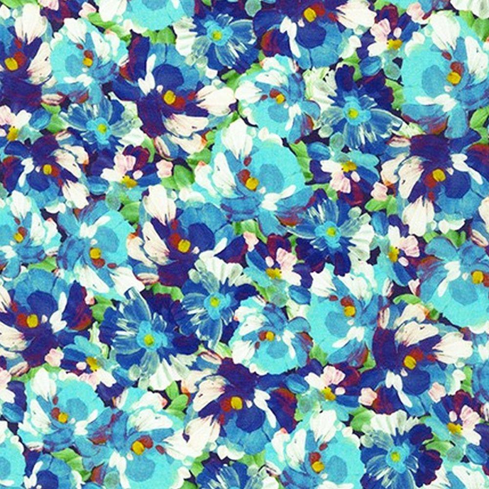 Robert Kaufman - Painterly Petals 100% Cotton Fabric - Blue Pansies