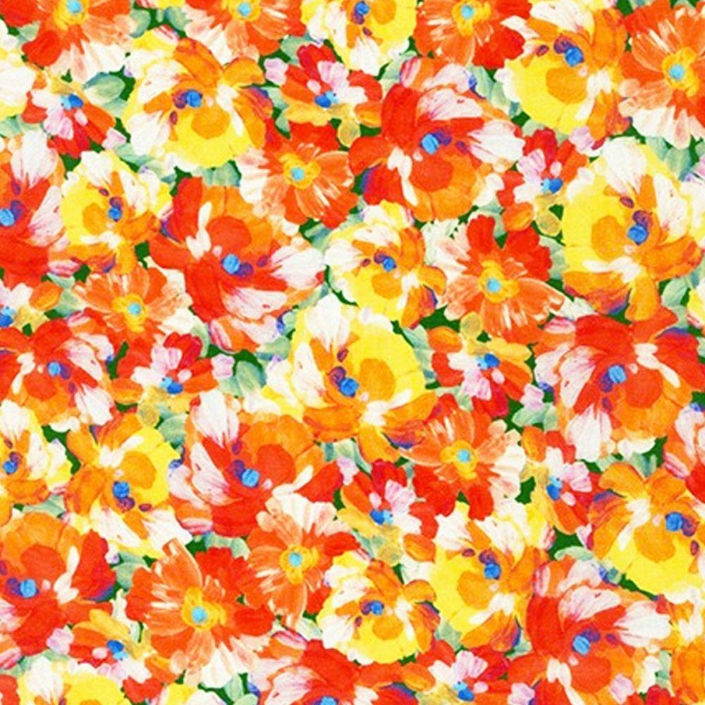Robert Kaufman - Painterly Petals 100% Cotton Fabric - Summer Pansies