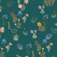 Cloud 9 - Arid Wilderness 100% Organic Cotton Fabric - Prickly Florals Green