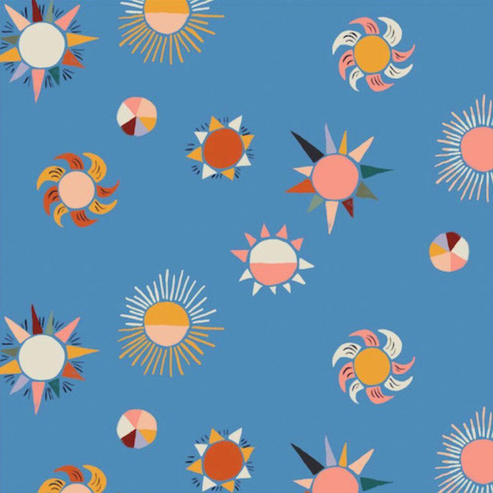 Cloud 9 - Arid Wilderness 100% Organic Cotton Fabric - Scorching Heat Blue