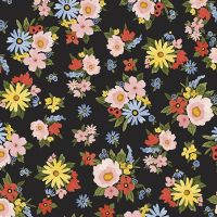 Riley Blake - Beautiful Day 100% Cotton Fabric - Black Floral Bouquet