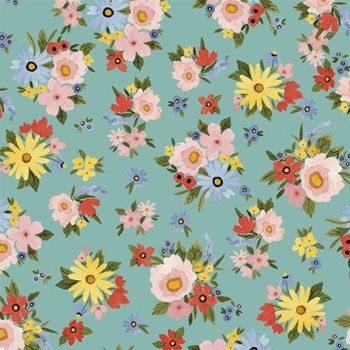 Riley Blake - Beautiful Day 100% Cotton Fabric - Seaglass Floral Bouquet