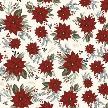 Riley Blake - Farmhouse Christmas 100% Cotton Fabric - Poinsettia White