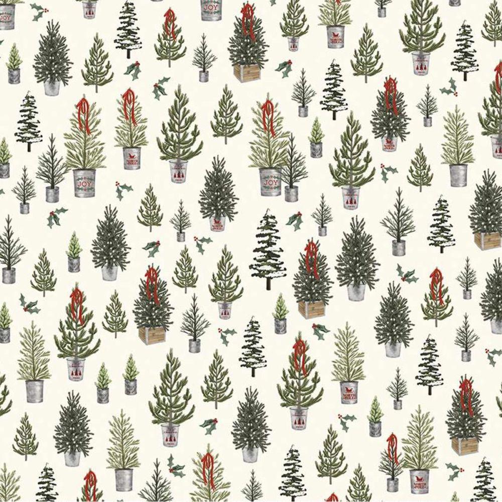 Riley Blake - Farmhouse Christmas 100% Cotton Fabric - Christmas Trees Crea