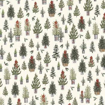 Riley Blake - Farmhouse Christmas 100% Cotton Fabric - Christmas Trees Cream