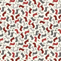 Riley Blake - Farmhouse Christmas 100% Cotton Fabric - Christmas Stockings Cream