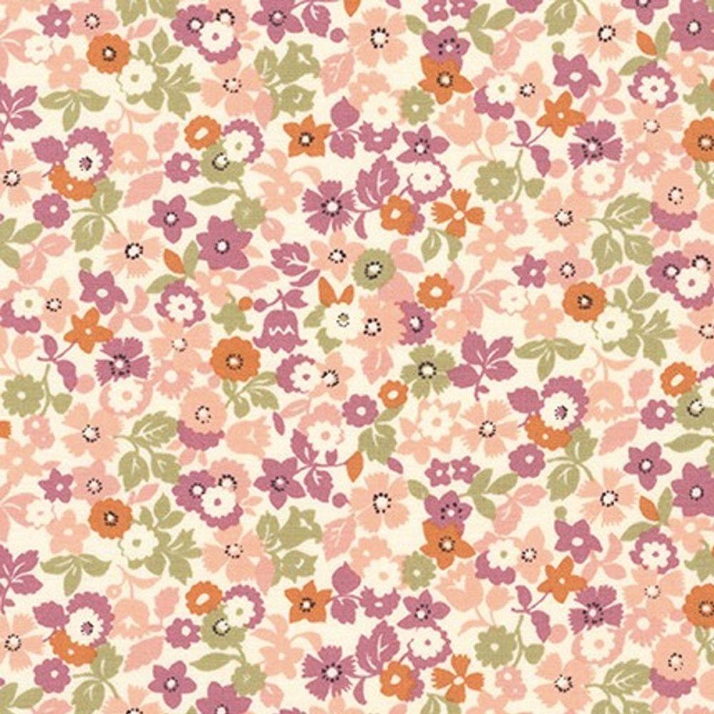 BOLT END - Petite Garden 100% Cotton Fabric - Retro Summer Floral - 73 x 11