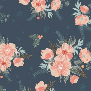 Art Gallery Fabrics - Cozy & Magical 100% Cotton Fabric - Frosted Rose Midnight