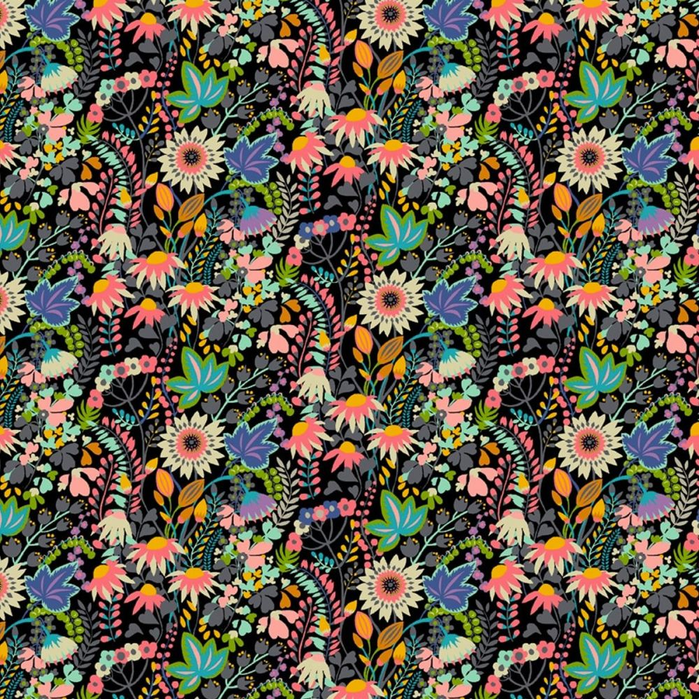 PRE ORDER Windham - Paradiso 100% Cotton Fabric - Flower Bed Black