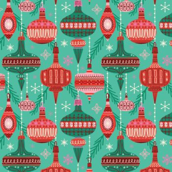 Cloud 9 - Christmas Past 100% Organic Cotton Fabric - Baubles & Branches
