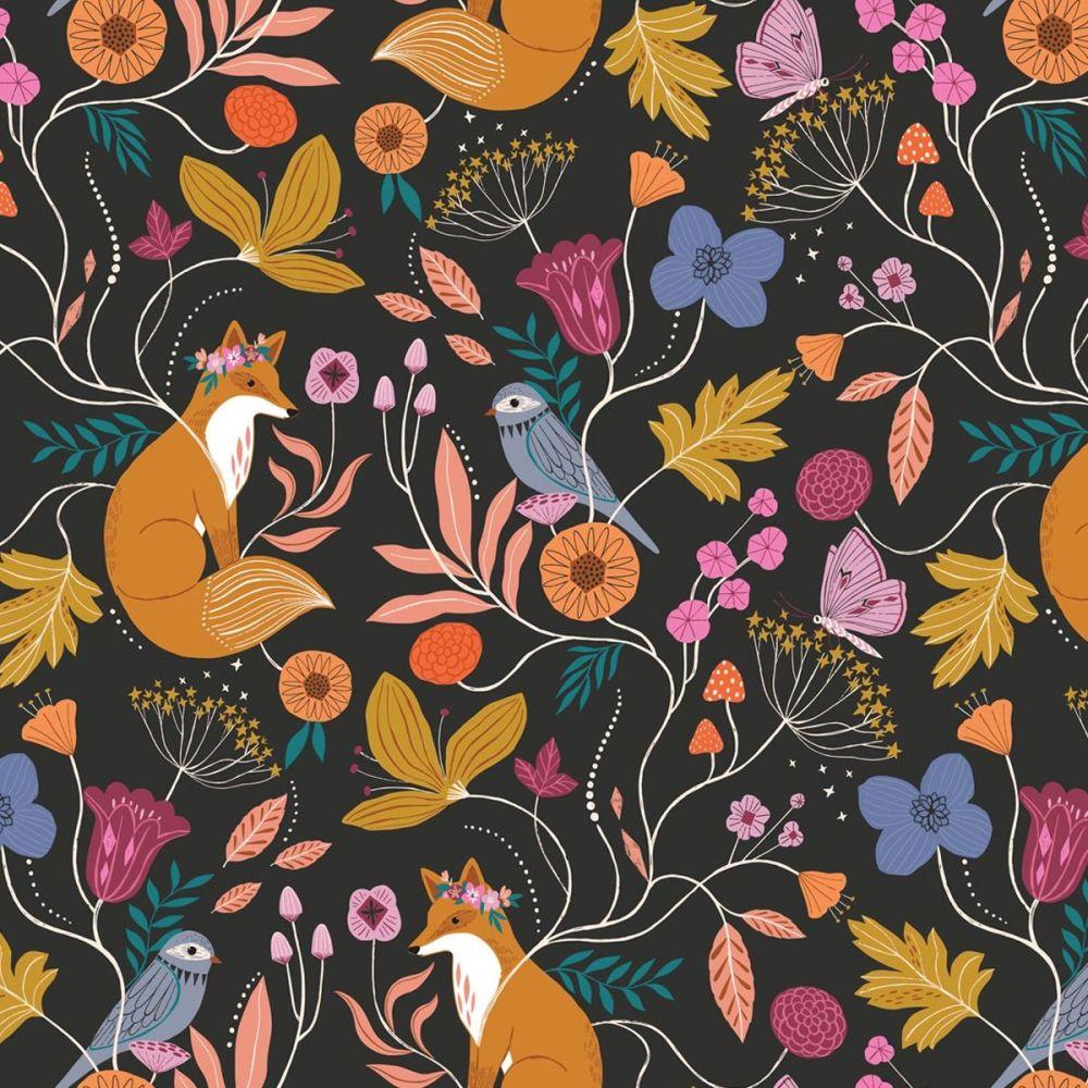 Dashwood Studios - Wild 100% Cotton Fabric - Fox Floral Black