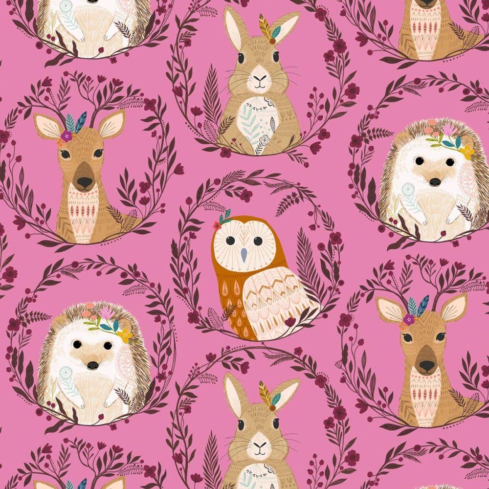 Dashwood Studios - Wild 100% Cotton Fabric - Woodland Animals Pink