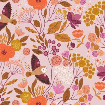 Dashwood Studios - Wild 100% Cotton Fabric - Owl Floral Pink