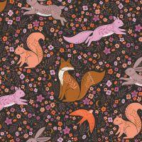 Dashwood Studios - Wild 100% Cotton Fabric - Woodland Animals Black