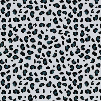 Riley Blake - Spotted 100% Cotton Fabric - Teal Grey Leopard