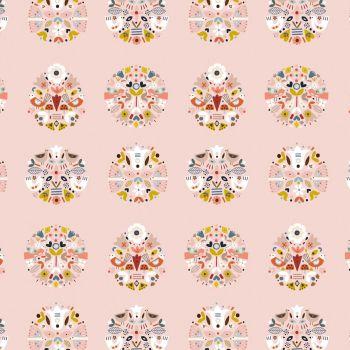 Dashwood Studios - Nordiska 100% Cotton Fabric - Pink Floral Birds
