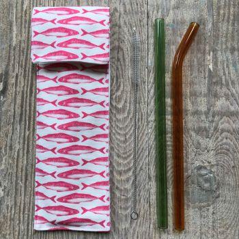 Glass Smoothie Straws - PINK SEAHORSE