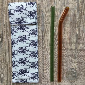 Glass Smoothie Straw - Navy Octopus